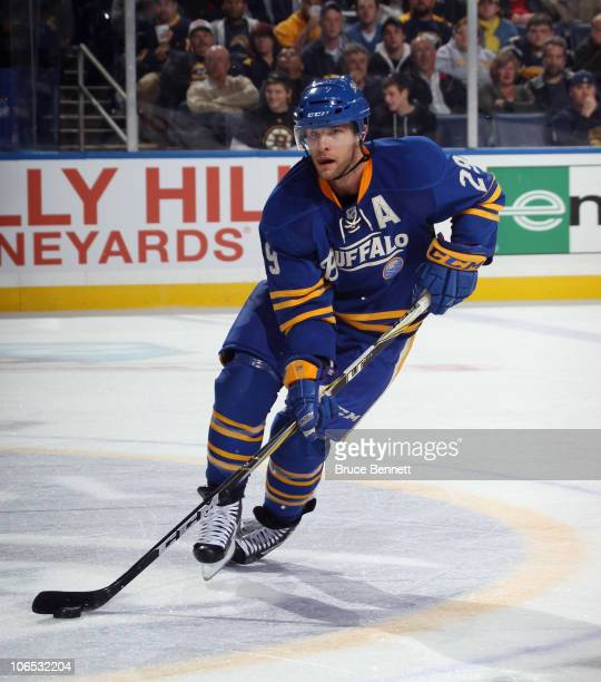 Jason Pominville of the Buffalo Sabres skates against the Boston Bruins at the HSBC Arena on November 3, 2010 in Buffalo, New York. The Bruins...