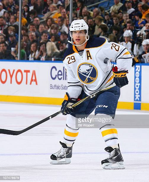 Jason Pominville of the Buffalo Sabres skates against the Columbus Blue Jackets at HSBC Arena on December 3, 2010 in Buffalo, New York.