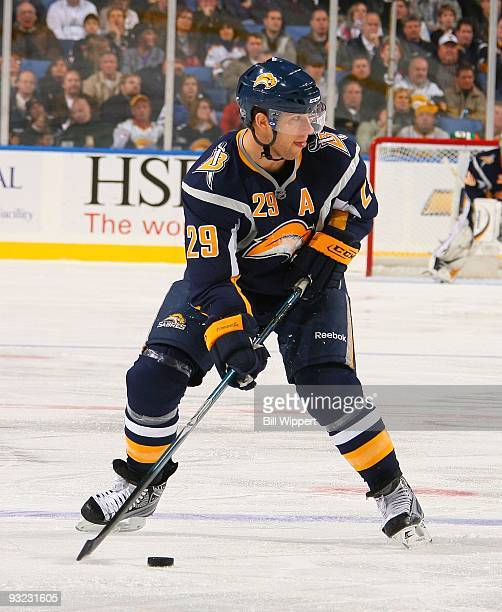 Jason Pominville of the Buffalo Sabres skates against the Edmonton Oilers on November 11, 2009 at HSBC Arena in Buffalo, New York. The Sabres...