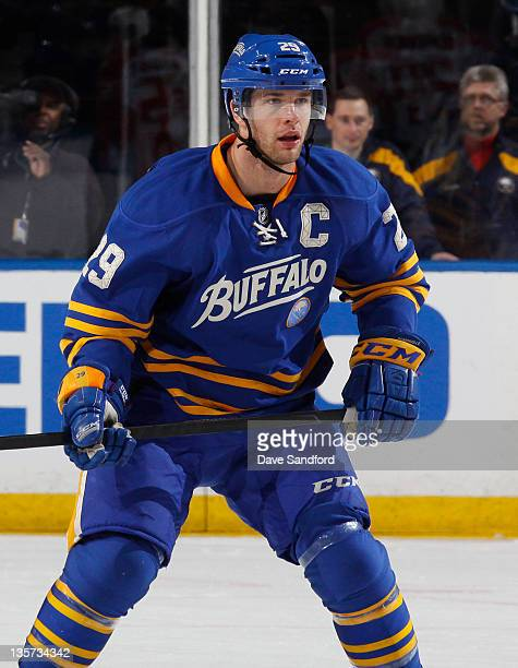 Jason Pominville of the Buffalo Sabres skates against the Florida Panthers during their NHL game at First Niagara Center on December 9, 2011 in...
