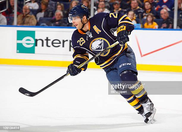 Jason Pominville of the Buffalo Sabres skates against the New York Islanders at HSBC Arena on February 13, 2011 in Buffalo, New York.