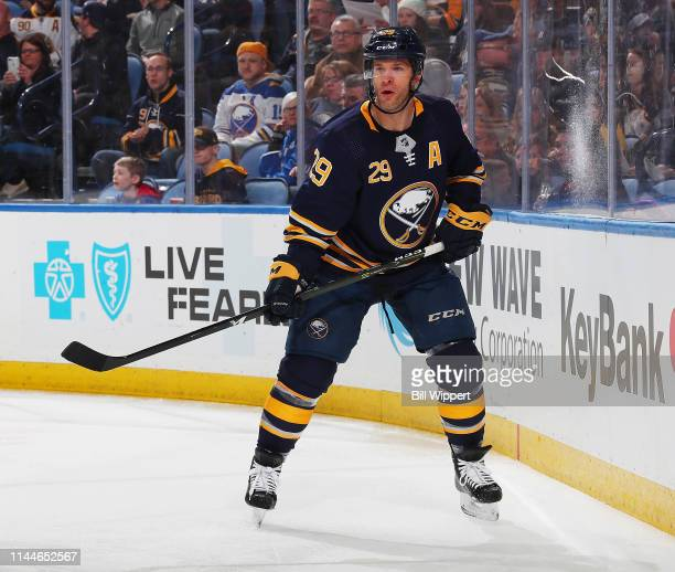 Jason Pominville of the Buffalo Sabres skates against the Ottawa Senators during an NHL game on April 4, 2019 at KeyBank Center in Buffalo, New York.