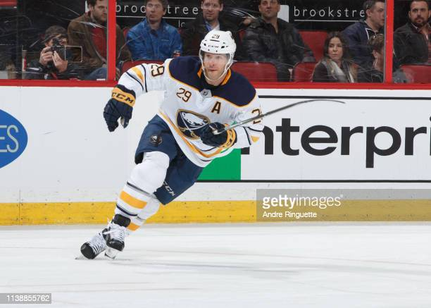 Jason Pominville of the Buffalo Sabres skates against the Ottawa Senators at Canadian Tire Centre on March 26, 2019 in Ottawa, Ontario, Canada.