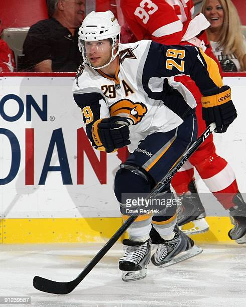 Jason Pominville of the Buffalo Sabres skates up ice during the NHL pre-season game against the Detroit Red Wings at Joe Louis Arena on September 19,...