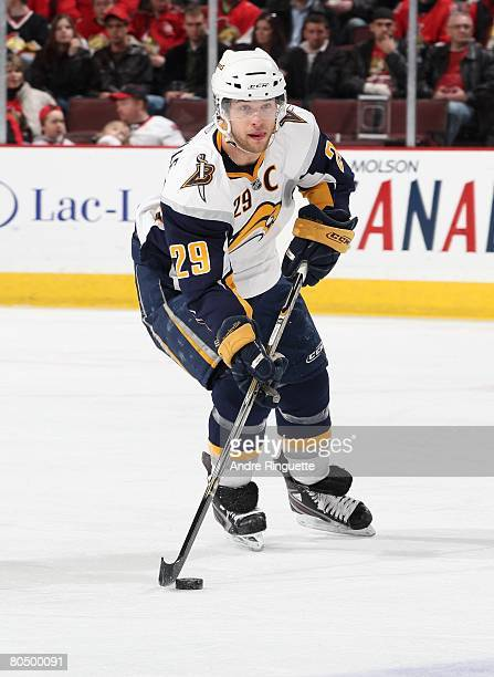 Jason Pominville of the Buffalo Sabres skates up ice with the puck against the Ottawa Senators at Scotiabank Place on March 27, 2008 in Ottawa,...