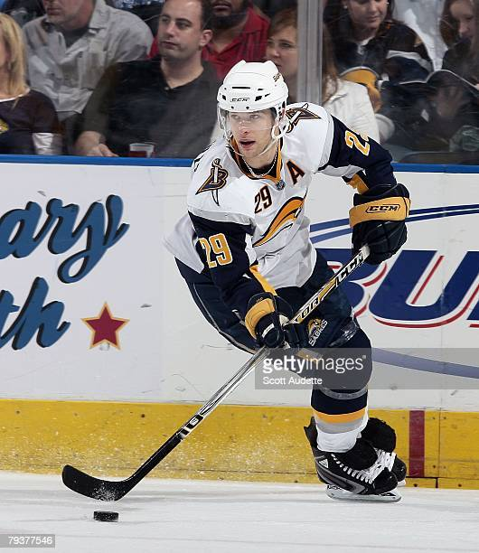 bba2c6de3 Jason Pominville of the Buffalo Sabres skates with the puck against the  Tampa Bay Lightning at