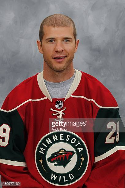 Jason Pominville of the Minnesota Wild poses for his official headshot for the 2013-2014 season on September 11, 2013 at the Xcel Energy Center in...
