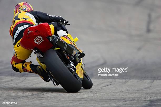 Jason Pridmore of the Michael Jordan Motorsports / Suzuki racing team races down the straights towards turn eight of the Superbike Championship at...