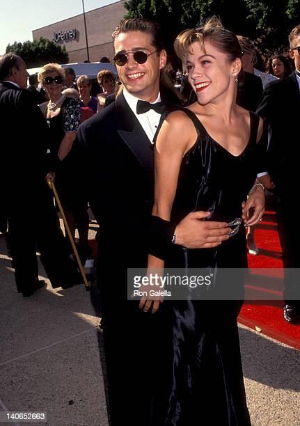 Jason Priestley and Christine Elise at the 44th Annual Primetime Emmy Awards Pasadena Civic Auditorium Pasadena
