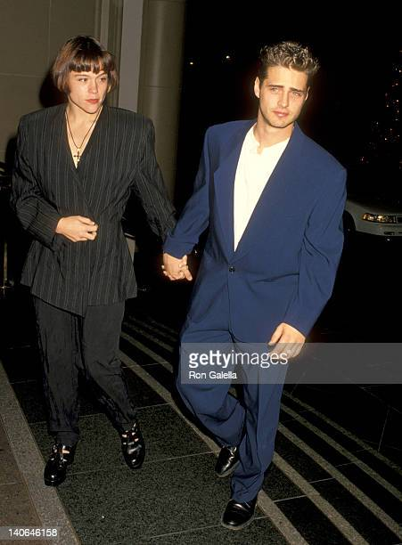 Jason Priestley and Christine Elise at the Aaron Spelling's Holiday Party Beverly Wilshire Hotel Beverly Hills