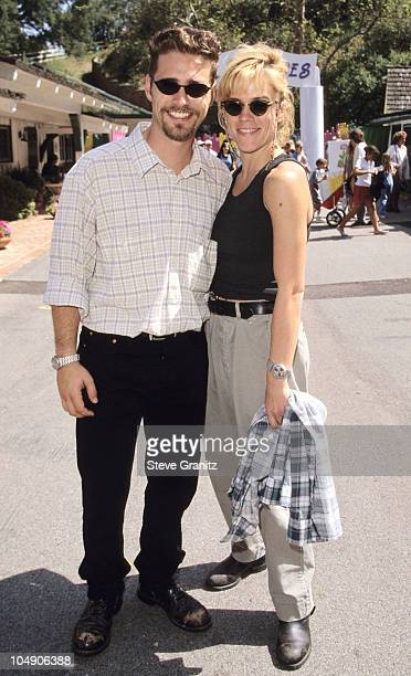Jason Priestley and Christine Elise during '95 Pediatric Aids Foundation Annual Picnic at Private Home in Los Angeles California United States