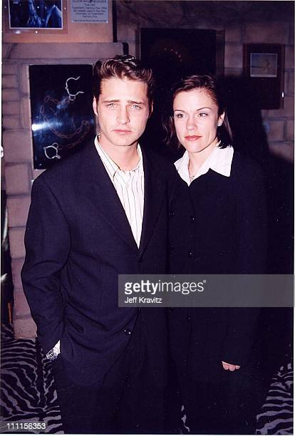 Jason Priestley and Christine Elise during Beverly Hills 90210 200th episode party at Planet Hollywood in Beverly Hills California United States