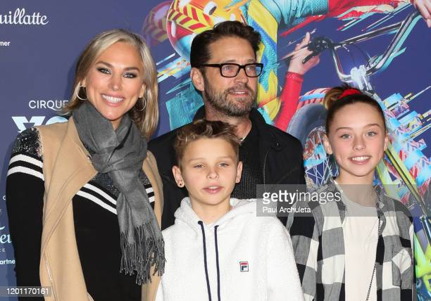"Jason Priestley and his family attend the LA premiere of Cirque Du Soleil's ""Volta"" at Dodger Stadium on January 21, 2020 in Los Angeles, California."