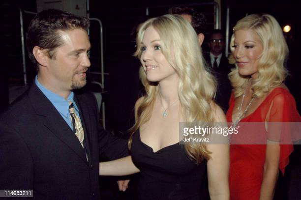 Jason Priestley Jennie Garth and Tori Spelling during 2005 TV Land Awards Backstage at Barker Hangar in Santa Monica California United States