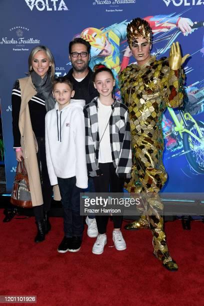 "Jason Priestley, Naomi Lowde-Priestley, Dashiell Priestley, Ava Priestley, attends the LA Premiere Of Cirque Du Soleil's ""Volta"" at Dodger Stadium on..."