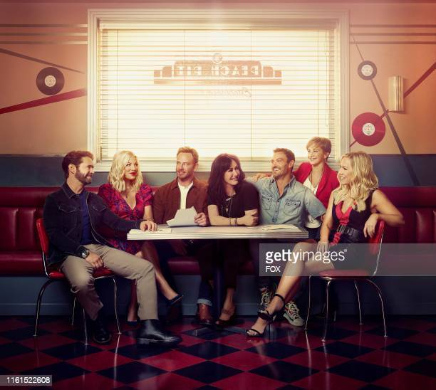 Jason Priestley Tori Spelling Ian Ziering Shannen Doherty Brian Austin Green Gabrielle Carteris and Jennie Garth BH90210 the highly anticipated new...