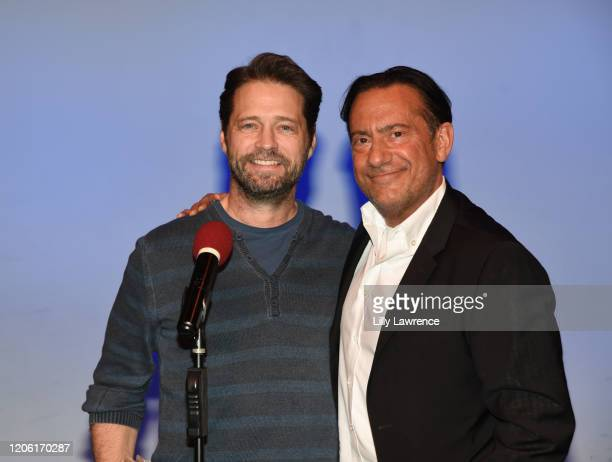 "Jason Priestly and Eugene Pack attend The Groundlings Theatre In LA Hosts ""Celebrity Autobiography"" at The Groundlings Theatre on February 11, 2020..."