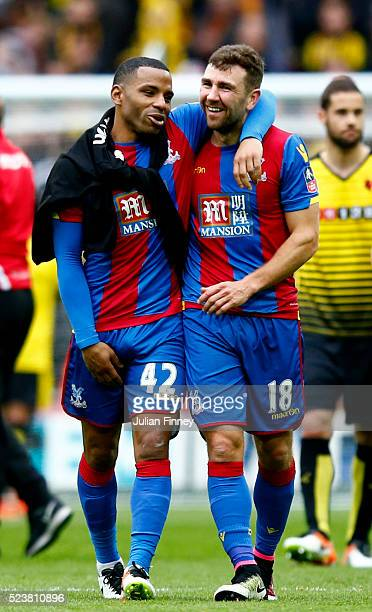 Jason Puncheon and James McArthur of Crystal Palace celebrate victory after The Emirates FA Cup semi final match between Watford and Crystal Palace...