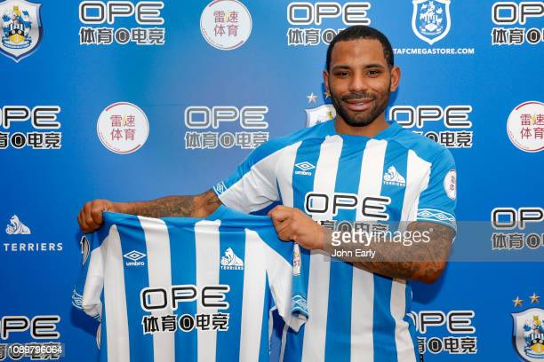 Jason Puncheon is shown wearing his new home kit as he completes his loan move to Huddersfield from Crystal Palace at PPG Canalside on January 04,...