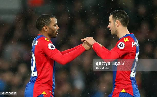 Jason Puncheon of Crystal Palace and Luka Milivojevic of Crystal Palace embrace after the Premier League match between Crystal Palace and...