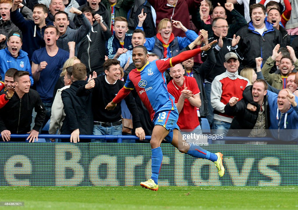 Jason Puncheon of Crystal Palace celebrates as he scores their first goal during the Barclays Premier League match between Crystal Palace and Aston Villa at Selhurst Park on April 12, 2014 in London, England.