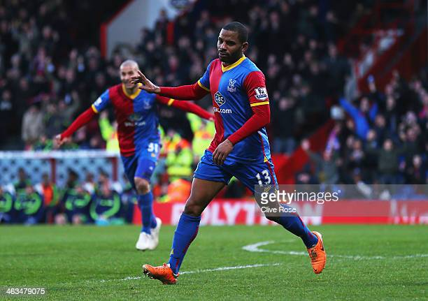 Jason Puncheon of Crystal Palace celebrates scoring the opening goal during the Barclays Premier League match between Crystal Palace and Stoke City...