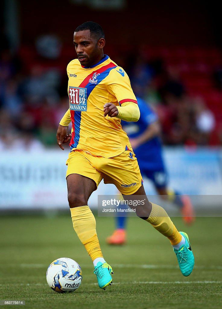 Jason Puncheon of Crystal Palace in action during the pre-season friendly between AFC Wimbledon and Crystal Palace at The Cherry Red Records Stadium on July 27, 2016 in Kingston upon Thames, England.