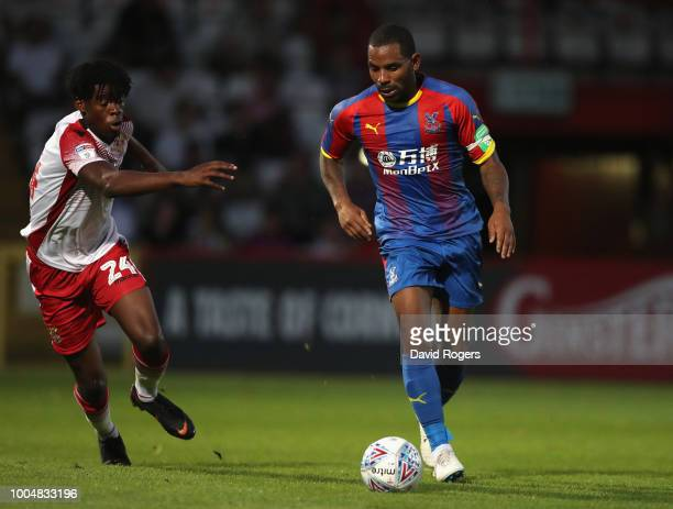 Jason Puncheon of Crystal Palace runs with the ball during the preseason friendly match between Stevenage and Crystal Palace at The Lamex Stadium on...