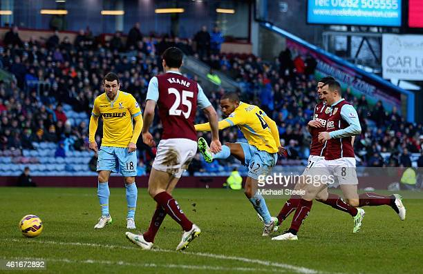 Jason Puncheon of Crystal Palace scores their second goal during the Barclays Premier League match between Burnley and Crystal Palace at Turf Moor on...
