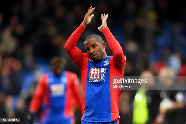 Jason Puncheon of Crystal Palace shows appreciation to the fans after the Premier League match between Crystal Palace and Watford at Selhurst Park on...