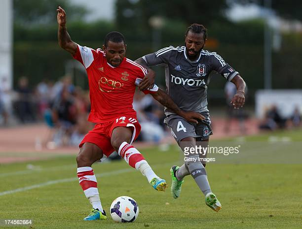 Jason Puncheon of Southampton and Manuel Fernandes of Besiktas compete for the ball during the preseason friendly match between Southampton FC and...