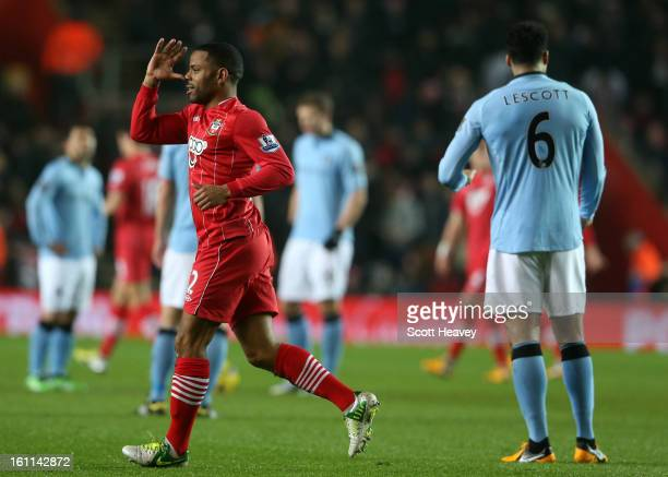 Jason Puncheon of Southampton celebrates scoring their first goal during the Barclays Premier League match between Southampton and Manchester City at...