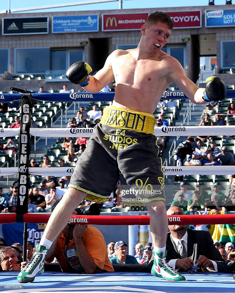 Jason Quigley squares off against Fernando Najara in a middleweight fight at StubHub Center on August 16, 2014 in Los Angeles, California.