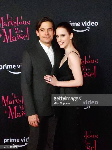 Jason Ralph and Actress Rachel Brosnahan attend The Marvelous Mrs Maisel New York Premiere at The Paris Theatre on November 29 2018 in New York City