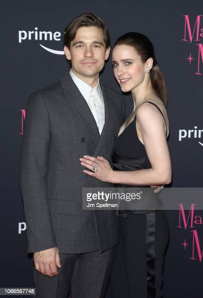 Jason Ralph and actress Rachel Brosnahan attend the The Marvelous Mrs Maisel New York premiere at The Paris Theatre on November 29 2018 in New York...