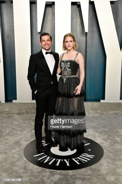 Jason Ralph and Rachel Brosnahan attend the 2020 Vanity Fair Oscar Party hosted by Radhika Jones at Wallis Annenberg Center for the Performing Arts...