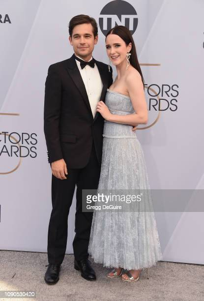 Jason Ralph and Rachel Brosnahan attend the 25th Annual Screen ActorsGuild Awards at The Shrine Auditorium on January 27 2019 in Los Angeles...