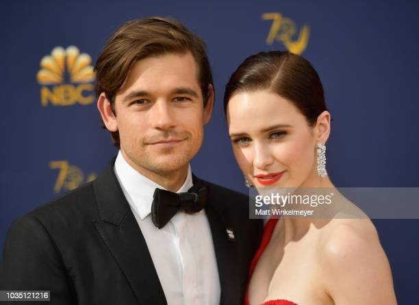 Jason Ralph and Rachel Brosnahan attend the 70th Emmy Awards at Microsoft Theater on September 17 2018 in Los Angeles California