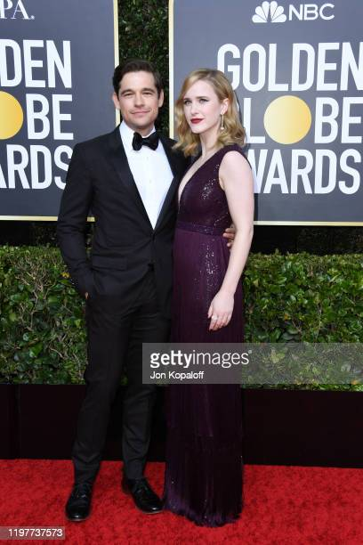 Jason Ralph and Rachel Brosnahan attend the 77th Annual Golden Globe Awards at The Beverly Hilton Hotel on January 05 2020 in Beverly Hills California