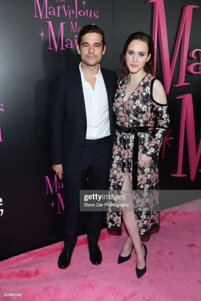 Jason Ralph and Rachel Brosnahan attend 'The Marvelous Mrs. Maisel' New York Premiere at Village East Cinema on November 13, 2017 in New York City.