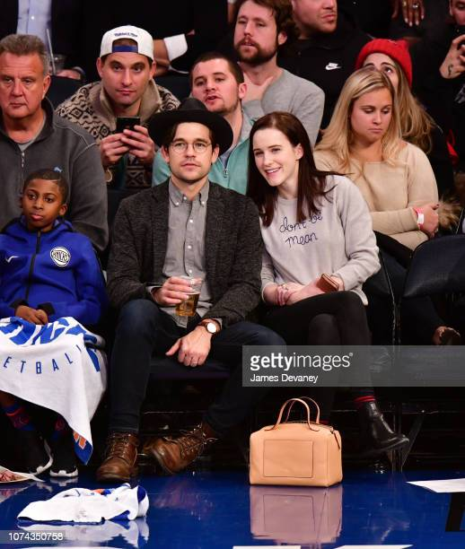 Jason Ralph and Rachel Brosnahan attend the Phoenix Suns v New York Knicks game at Madison Square Garden on December 17 2018 in New York City