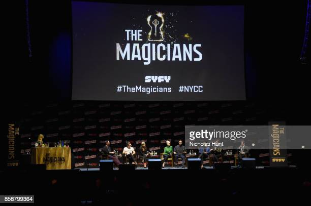 Jason Ralph Stella Maeve Olivia Taylor Dudley Hale Appleman Arjun Gupta and Jade Tailor speak at The Magicians Panel during 2017 New York Comic Con...