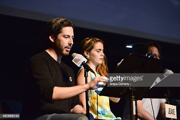 Jason Reitman and Mae Whitman perform at the Film Independent Live Read: Ferris Bueller's Day Off at Bing Theatre At LACMA on October 15, 2015 in Los...