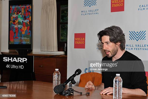 Jason Reitman with a Sharp 4K display at the opening night press conference for the Mill Valley Film Festival on October 2 2014 in Mill Valley...