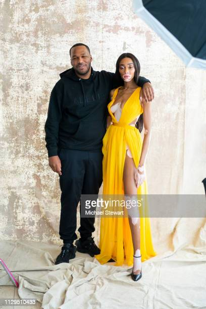 Jason Rembert and Winnie Harlow attend the Aliette Presentation during New York Fashion Week The Shows at The Standard East Village on February 13...