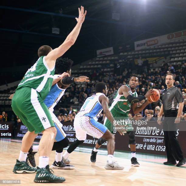 Jason Rich and Kyrylo Fesenko of Sidigas competes with Kelvin Martin and Henry Sims of Vanoli during the match quarter final of Coppa Italia between...