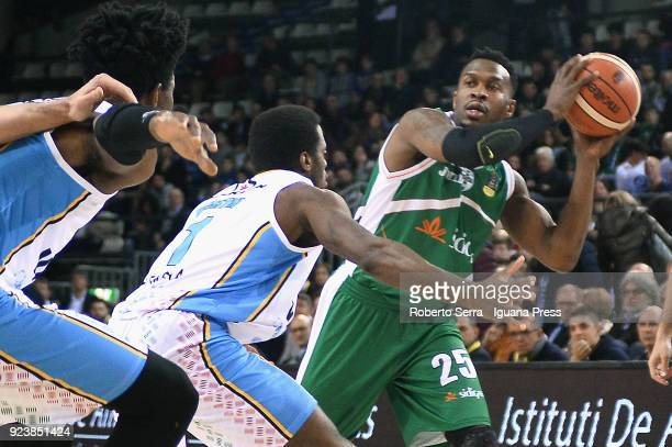 Jason Rich of Sidigas competes with Kelvin Martin and Henry Sims of Vanoli during the match quarter final of Coppa Italia between Scandone Sidigas...