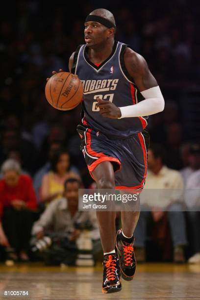 Jason Richardson of the Charlotte Bobcats brings the ball upcourt during the game against the Los Angeles Lakers on March 26 2008 at Staples Center...