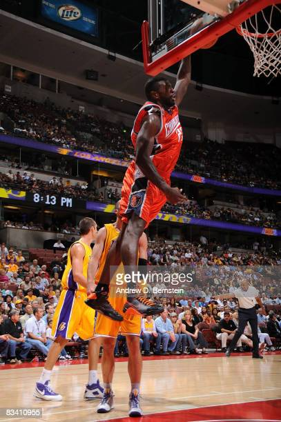 Jason Richardson of the Charlotte Bobcats goes up for two points against Vladimir Radmanovic of the Los Angeles Lakers during the game on October 23...