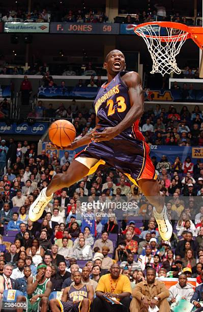 Jason Richardson of the Golden State Warrior dunks after putting the ball between his legs during the Sprite Rising Stars Slam Dunk Competitionon...